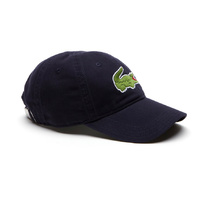 Lacoste 'Big Croc' Cotton Adjustable Cap in Navy